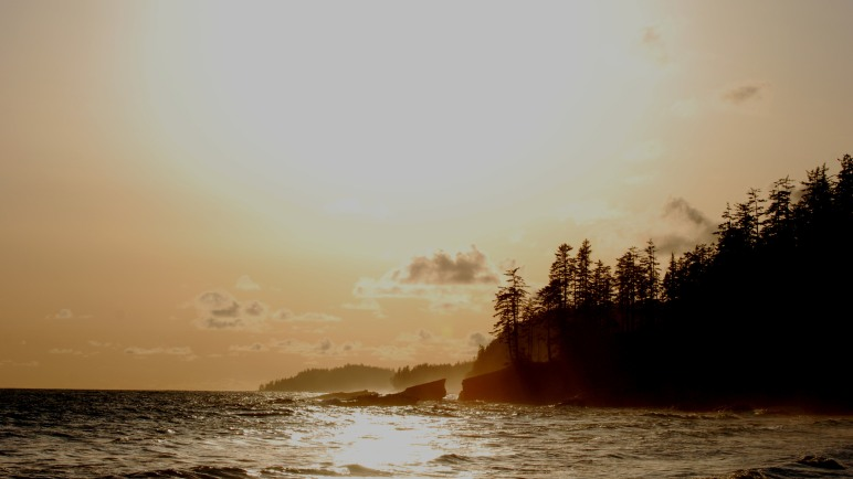 West Coast Trail sunset. Tsusiat Falls. © Eddy Savage
